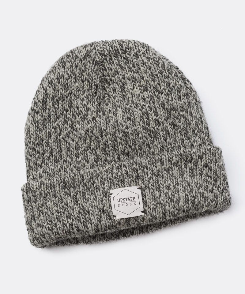 Melange Ragg Wool Beanie in Charcoal