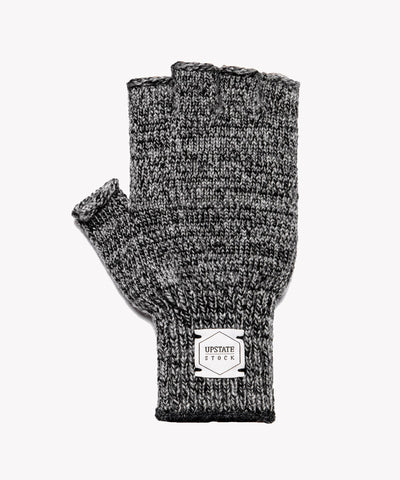 Melange Ragg Wool Fingerless Glove in Charcoal