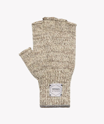 Melange Ragg Wool Fingerless Glove in Oatmeal