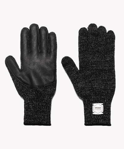 Melange Ragg Wool Glove in Black with Deerskin