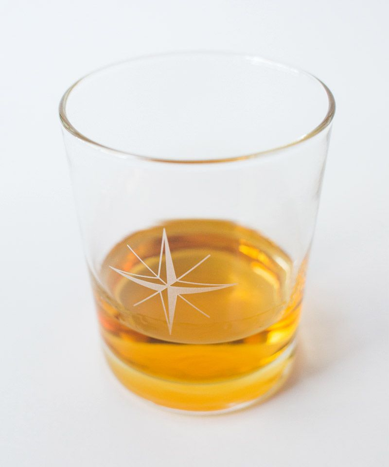 Compass Rose Rocks Glass