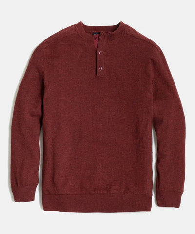 Merino Blend Sweater Henley in Plum