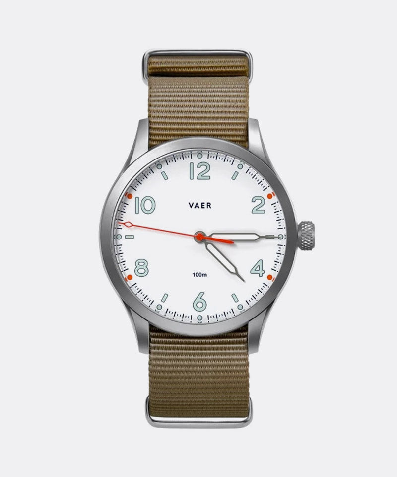 S5 Standard Issue Design Watch in White (Single Pass Bands)