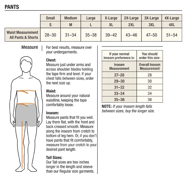 Carhartt men s pants size chart tomlinson sales company