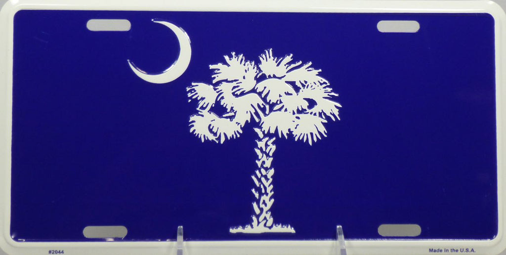 Blue & White Palmetto Tree and Crescent Moon Metal License Plate