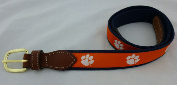 Orange Clemson Web Belt