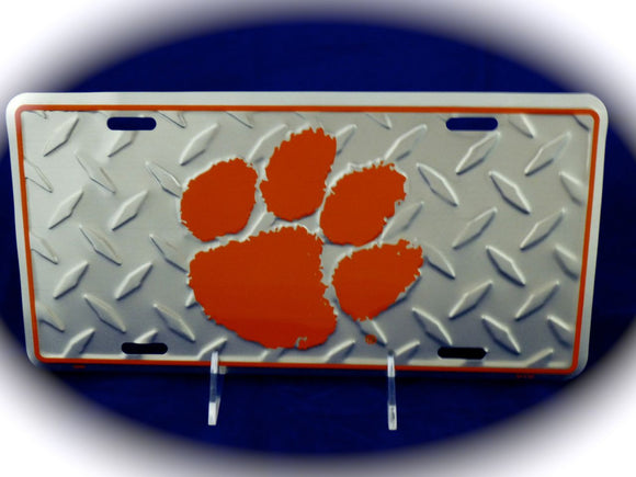 Clemson Paw Silver Diamond License Plate