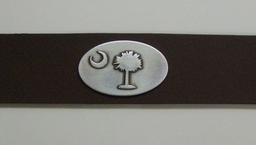Men's Leather Belt with Palmetto Tree and Crescent Moon Concho