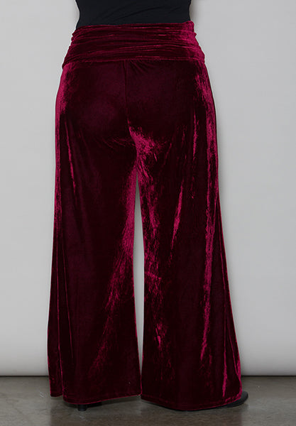 Crushed Velvet Palazzo  Plus Size Pants