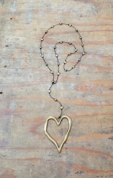 Alloy Bronze Open Heart Necklace