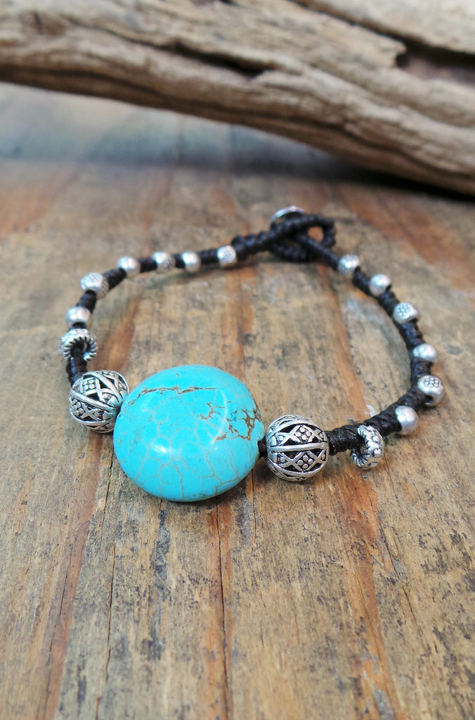 Alloy Single Turquoise Stone Bracelet