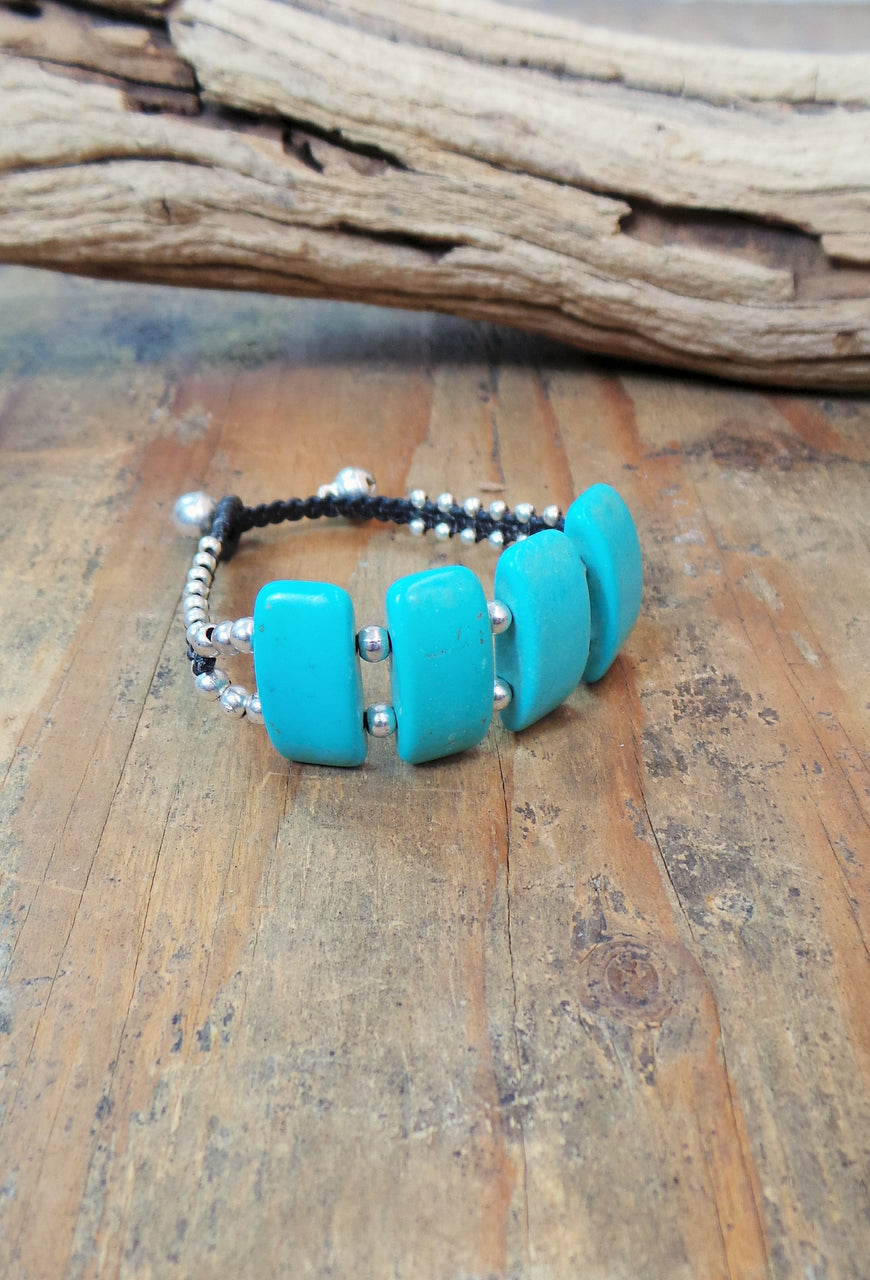 Alloy Rectangle Turquoise Bracelet