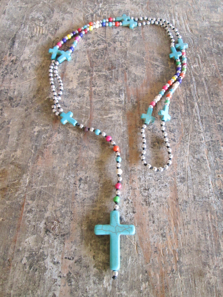 Rainbow Turquoise Coss Alloy Necklace