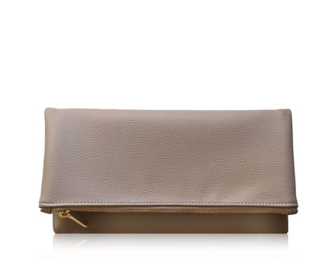 FAUX PEBBLE LEATHER FOLDOVER | BEIGE