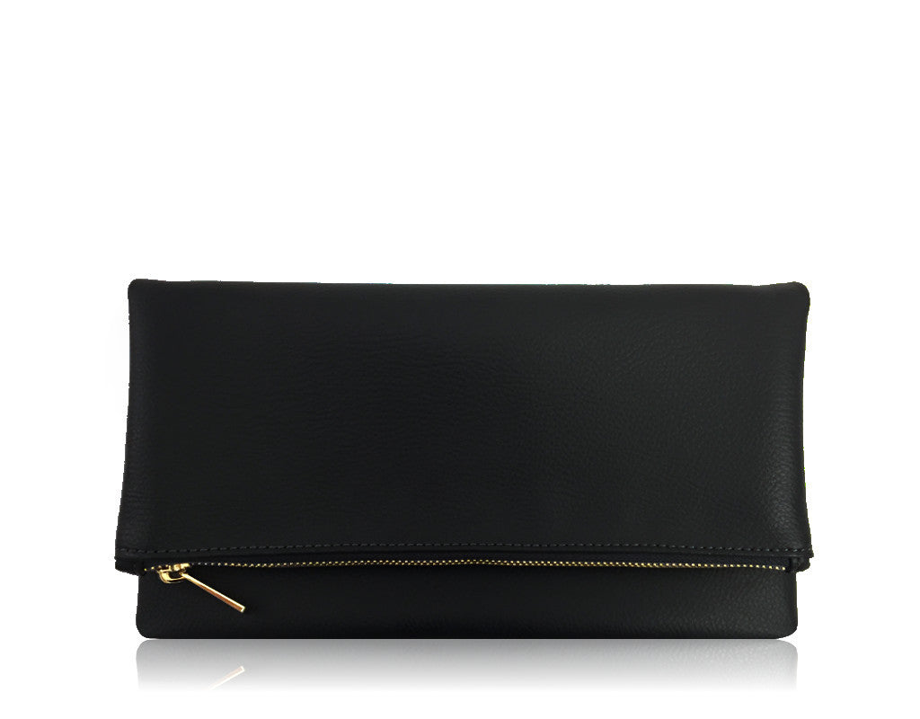 FAUX PEBBLE LEATHER FOLDOVER | BLACK