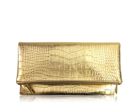 FAUX EMBOSSED LEATHER FOLDOVER | GOLD