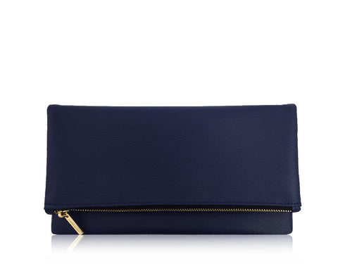FAUX PEBBLE LEATHER FOLDOVER | NAVY