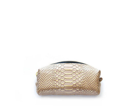 LEATHER BEIGE COSMETIC BAG