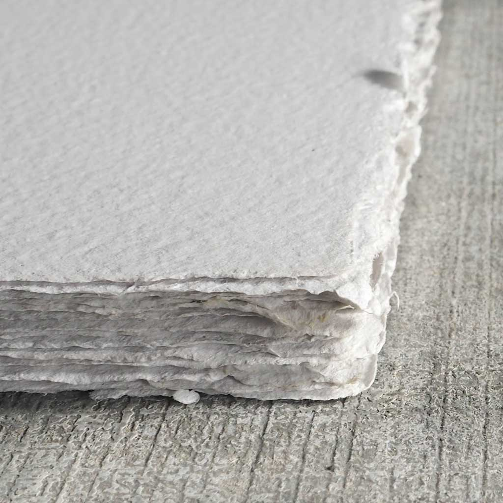 recycled white handmade paper