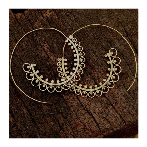Ornate Brass Hoop Earrings