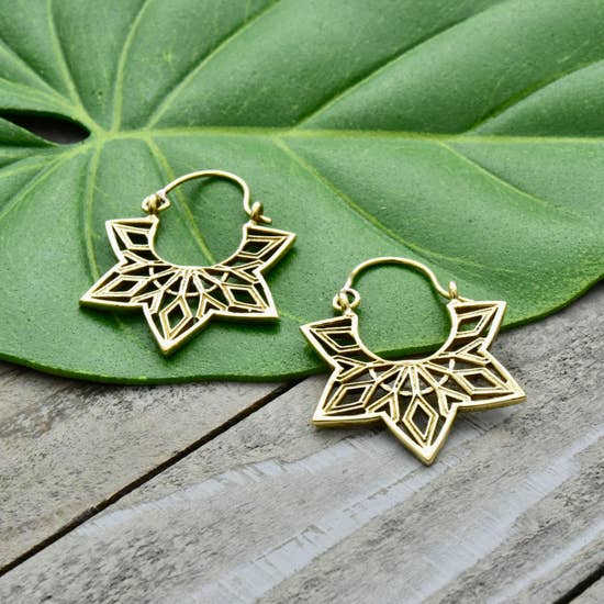 Ornate Brass Star Hoop Earrings