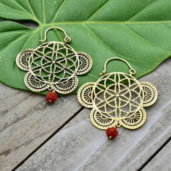 Ornate Brass Earrings with Cotton Thread Drop