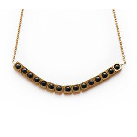 Onyx And Brass Bead Necklace