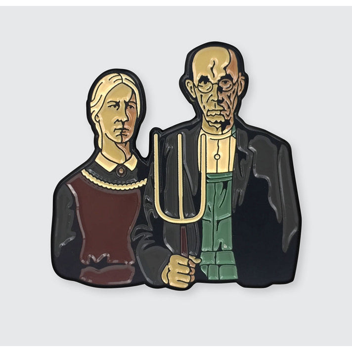 American Gothic By Grant Wood Enamel Pin