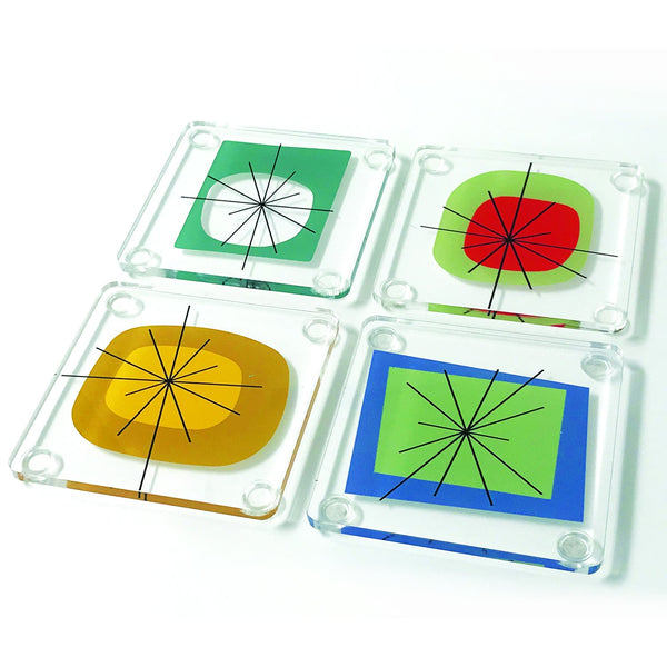 Atomic Era Design Acrylic Coaster Set