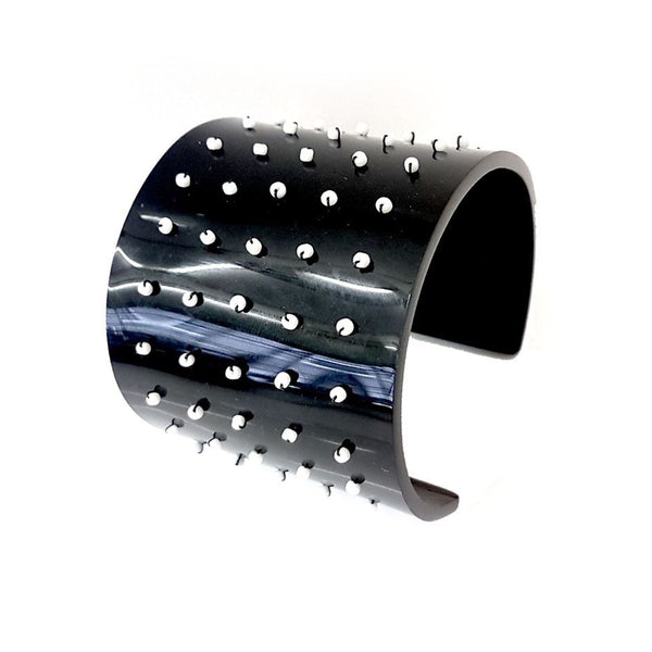 Beaded Black Cuff Bracelet by Philippa Green