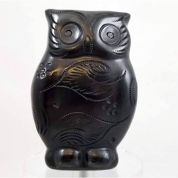 Mexican Folk Art Black Clay Owl