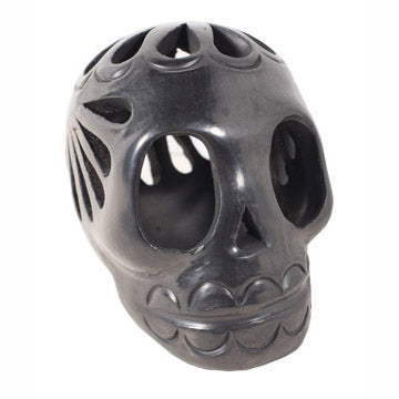 Mexican Folk Art Black Clay Skull