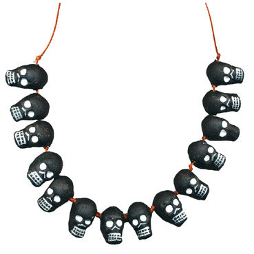 Mexican Folk Art Black Skull Necklace
