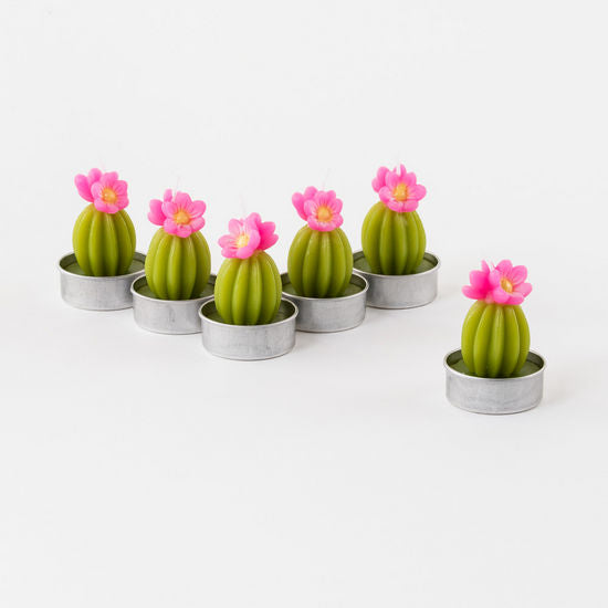 Flowering Cactus Tea Light Candles - Set of 6