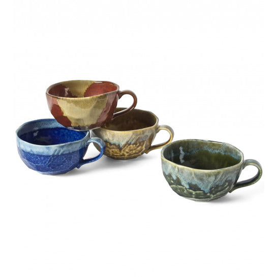 Jewel Tone Boulder Japanese Mug Set