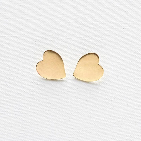 Brass Heart Stud Earrings