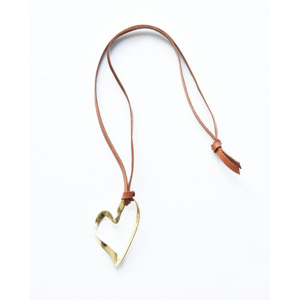 Brass Ribbon Heart Pendant On Leather Necklace