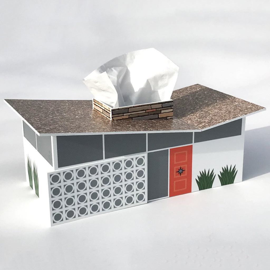 Mid-century Butterfly House Tissue Box Cover