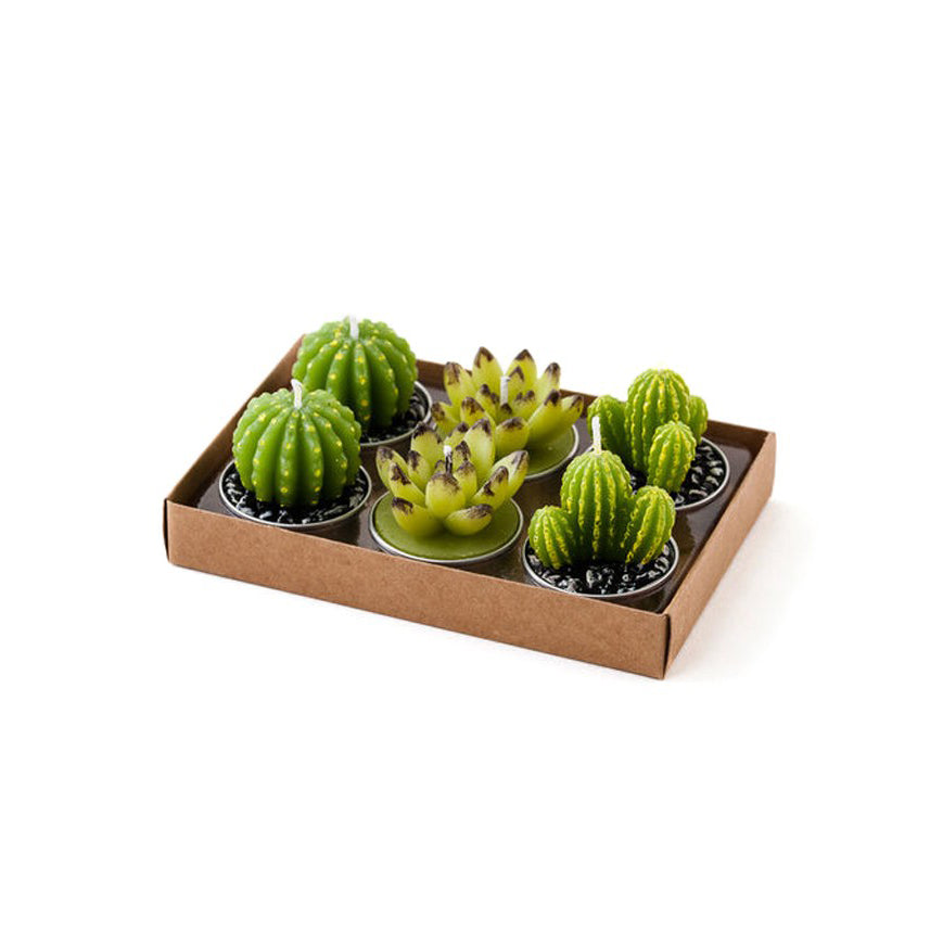 Cactus Tea Light Candles - Set of 6