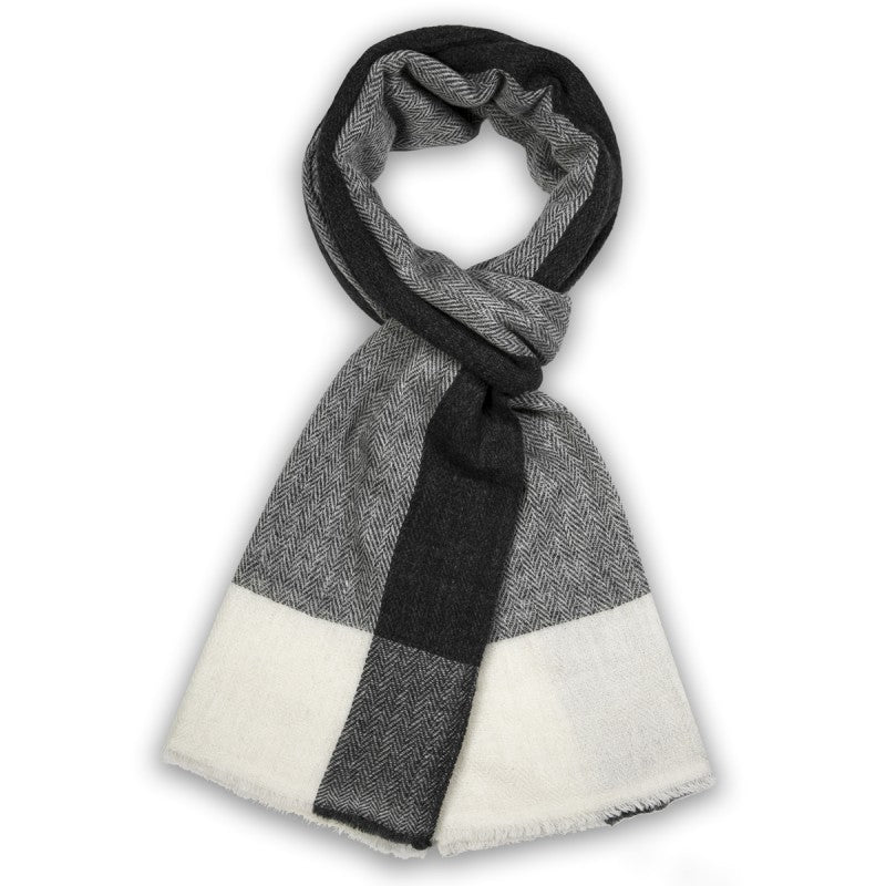 Natural Cashmere Black and White Scarf