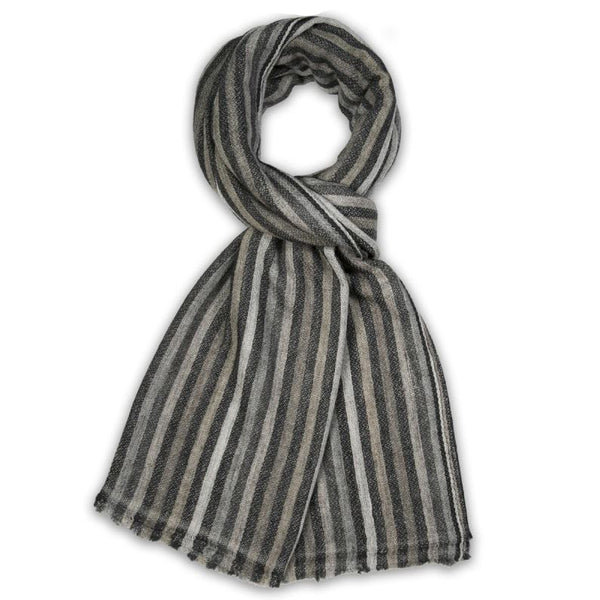 Natural Cashmere Striped Scarf