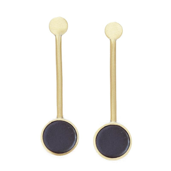 Black and Brass Ceramic Pendulum Earrings