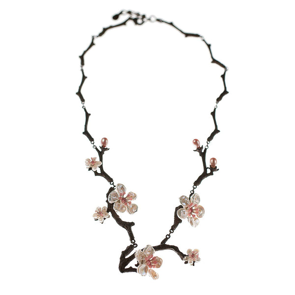 Cherry Blossom Twig Necklace With Keshi Pearls By Michael Michaud