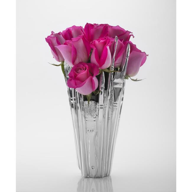 Chrome Brush Vase