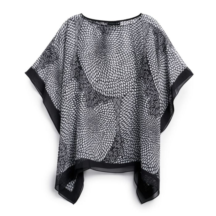 Japanese Chrysanthemums Sheer Poncho