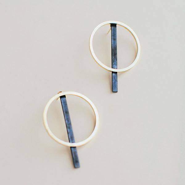 Mixed Metal 2-in-1 Circle Stud Earrings