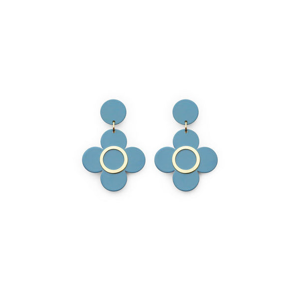 Isuwa Clover Blue Flower Earrings