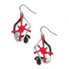 Splatters Red, Silver & Black Earrings