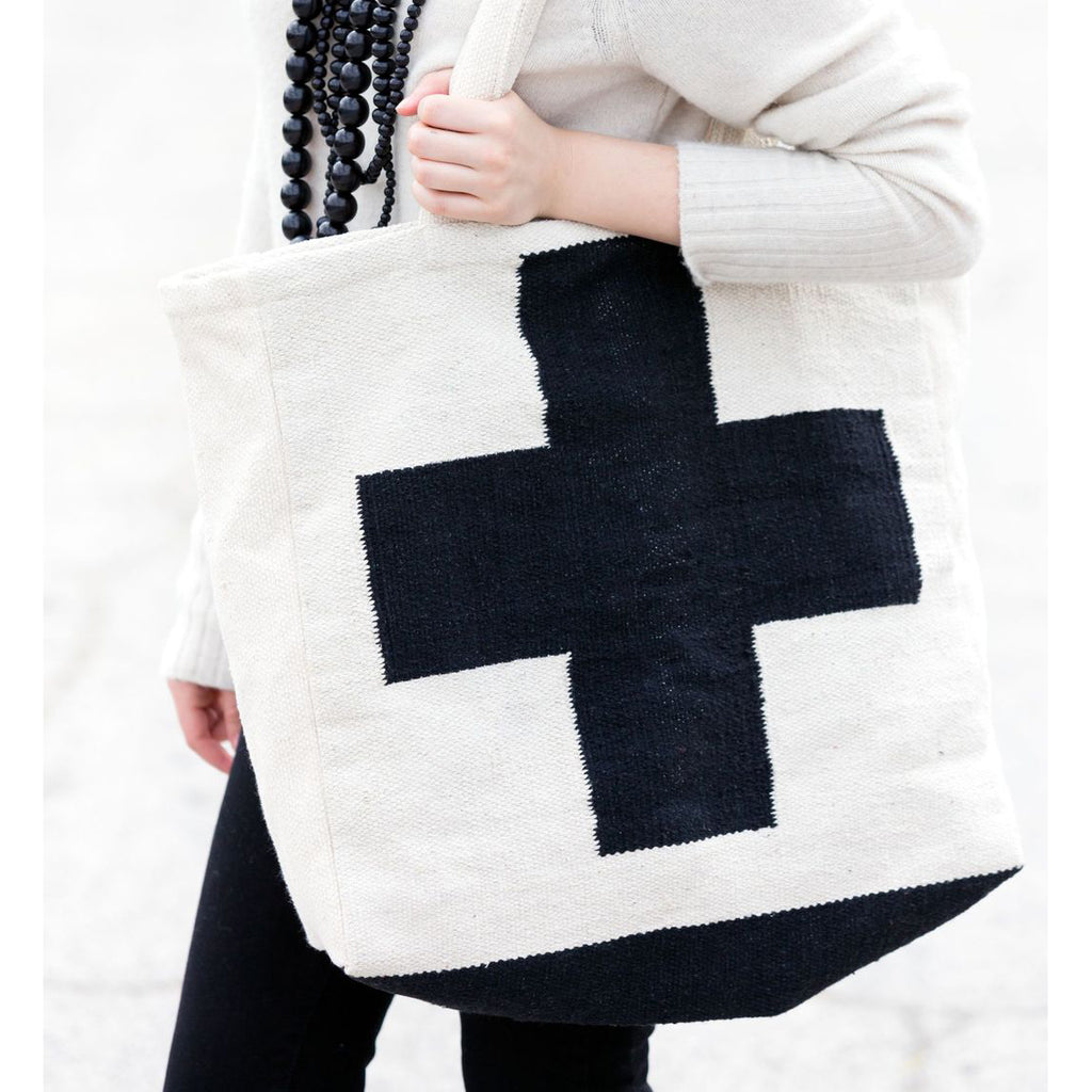 Black And Ecru Cross Dhurrie Tote Bag