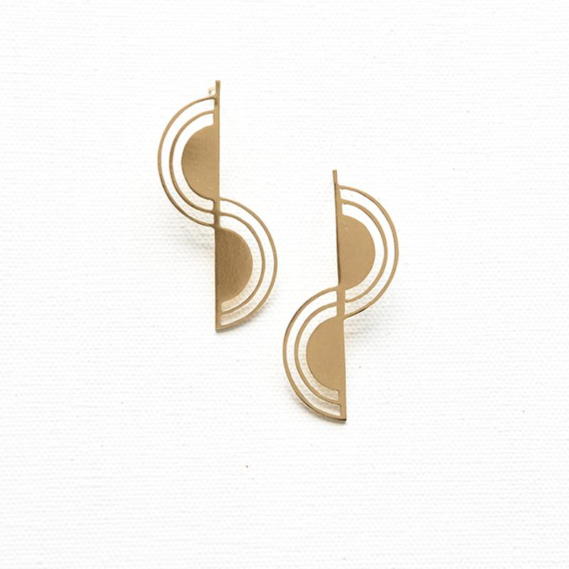 Brass Double Rainbow Earrings